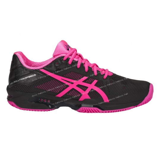 CHAUSSURES ASICS GEL SOLUTION SPEED 3 NOIR / ROSE TERRE PE18