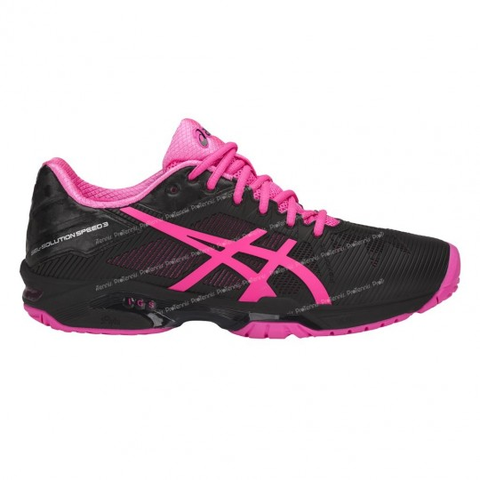 CHAUSSURES ASICS GEL SOLUTION SPEED 3 LADY NOIR / ROSE PE18