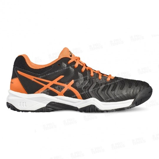 ASICS GEL RESOLUTION 7 JUNIOR NOIR / ORANGE / BLANC PE17
