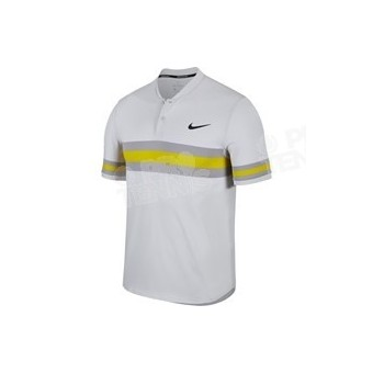 POLO NIKECOURT HOMME ADVANTAGE STRIPE GRIS / JAUNE PRINTEMPS