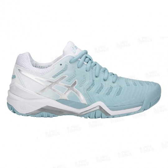 CHAUSSURES ASICS GEL RESOLUTION 7 LADY BLANC / BLEU PE18