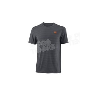 T-SHIRT WILSON HOMME LINEAR CREW RAYÉ GRIS / ORANGE PE18