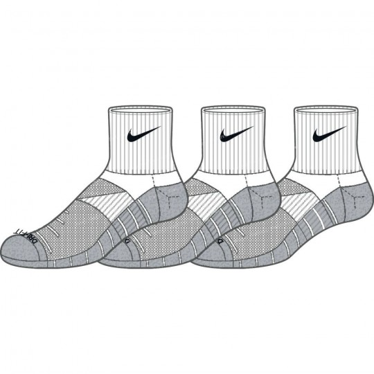 NIKE DRY LIGHTWEIGHT SOCKS X3 COURTES DRI-FIT BLANCHES