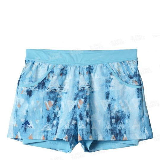 ADIDAS GIRLS MELBOURNE SHORT BLEU / ORANGE GRAPHIC SS17