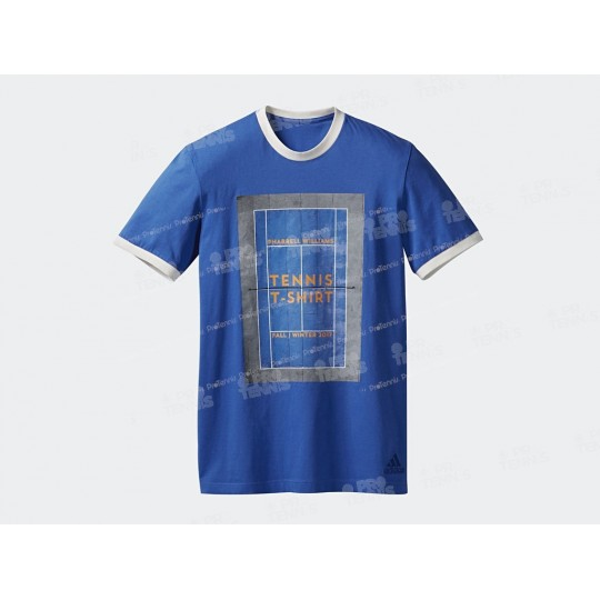 T-SHIRT ADIDAS MEN PHARRELL WILLIAMS NY GRAPHIC BLEU / BLANC