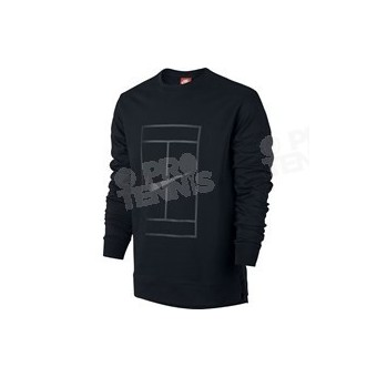SWEAT NIKE MEN COURT LOGO FLEECE CREW NOIR AUTOMNE 2017