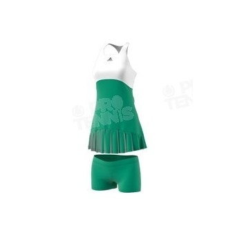 ADIDAS WOMEN ROLAND GARROS 2017 DRESS BLANC / VERT