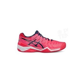 ASICS GEL RESOLUTION 7 LADY TERRE BATTUE ROSE / MARINE PE17
