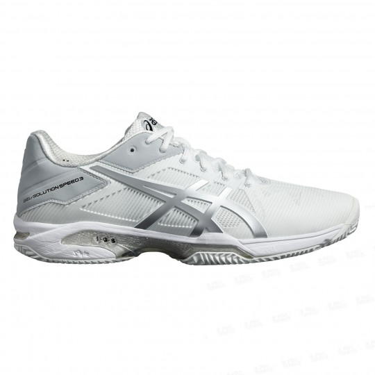 Asics Gel solution Speed 3 Homme Terre Battue Blanc Silver PE18