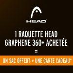 UN SAC HEAD DUFFLE OFFERT POUR L'ACHAT D'UNE RAQUETTE HEAD GRAPHENE 360+