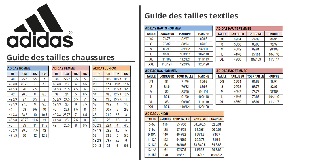 Guide des tailles Adidas