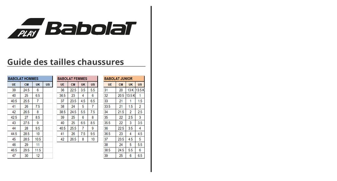 Guide des tailles Babolat